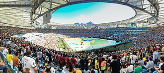 Panorama of the interior of the Maracana stadium during the closing ceremony of the 2014 FIFA World Cup Stadion Rio de Janeiro Finale WM 2014 (22117945206).jpg