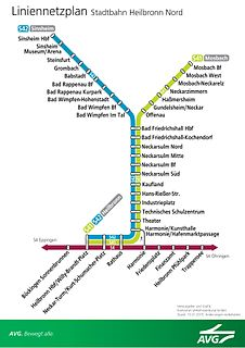 Heilbronn Stadtbahn German light railway network