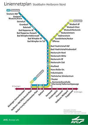 Heilbronn Stadtbahn - Image: Stadtbahn heilbronn netzplan