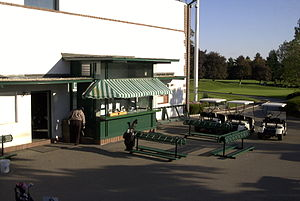 Westchester Country Club - The starter's shack in 2002. The person in the photograph is Bob Watson, Jr.