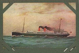 Hand coloured postcard of the SS Maheno