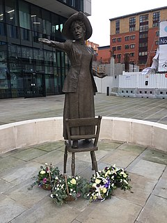 Statue of Emmeline Pankhurst bronze sculpture in St Peters Square, Manchester depicting Emmeline Pankhurst