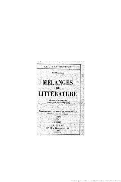 File:Stendhal - Mélanges de littérature, III, 1933, éd. Martineau.djvu