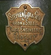 Stephen Cox & Son - makers plate