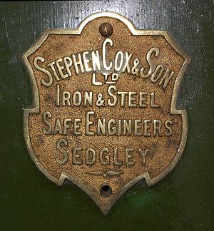 Sedgley - Image: Stephen Cox & Son makers plate