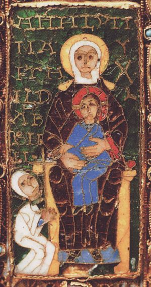 Seat of Wisdom - An enamel plaque on the processional Cross of Mathilde, showing an image of the donor together with Mary, Seat of Wisdom