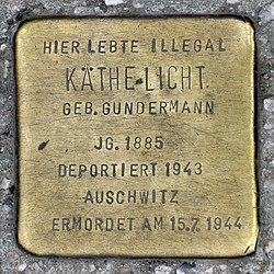 Photo of Käthe Licht brass plaque