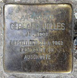 Photo of Gerhard Jolles brass plaque