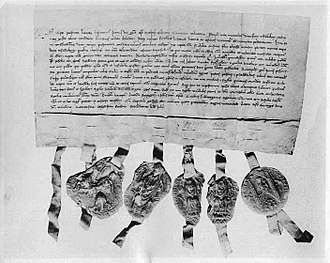 Joint-stock company - The transfer letter from 1288 through which Bishop Peter of Västerås reacquires an eighth of Tiskasjöberg, Kopparberget. The original can be found at Riksarkivet (National Archive) in Stockholm.