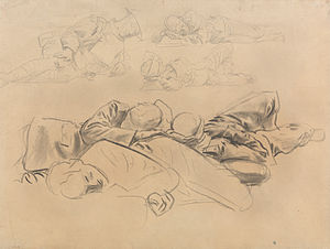 Gassed (painting) - Study for Gassed Soldiers, John Singer Sargent, 1918. Yale Center for British Art