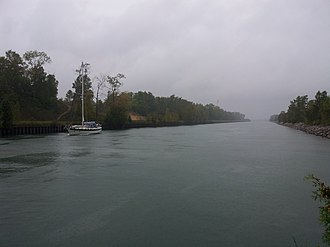 Sturgeon Bay Ship Canal - Boat passing eastward through the Sturgeon Bay Canal in stormy weather (September 2013).