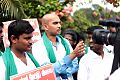 Subi while raising voice for farmers during a protest at Mettur.jpg