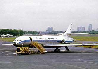 Aerolíneas Argentinas - Aerolíneas Sud Caravelle at Aeroparque Jorge Newbery Buenos Aires in 1972