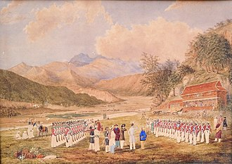 Girvan Yuddha Bikram Shah - Bhimsen Thapa's troops, right, at Segauli, 1816, with India Pattern Brown Bess muskets and chupi bayonets.