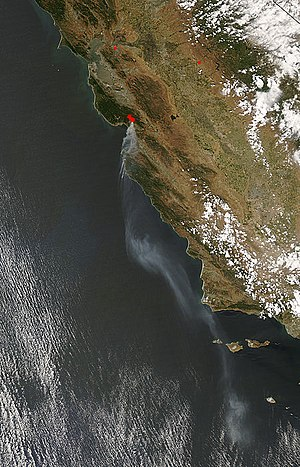 Summit Fire (2008) - NASA satellite photo from May 22, 2008 showing the smoke plumes.