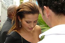 Supermodel Petra Nemcova signing a couple autographs outside of a Bloor St. west Press Junket During TIFF '08.jpg