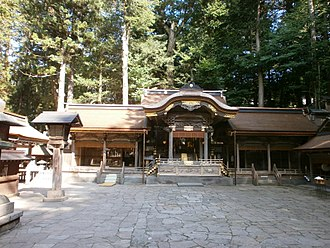 Takeminakata - The main shrine or Honmiya (本宮) of the Upper Shrine (上社 Kamisha) of Suwa, one of the two main sites that make up Suwa Grand Shrine. The Suwa deity is enshrined in the Upper Shrine located on the southeast end of Lake Suwa, while his consort is worshipped on the Lower Shrine (下社 Shimosha) on the opposite shore.