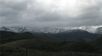 Meiringspoort - The Great Swartberg mountain range, seen from the south in stormy weather.