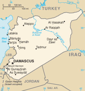 WMD conjecture in the aftermath of the 2003 invasion of Iraq - Map of Syria, showing its location west of Iraq