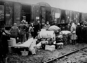Population transfer in the Soviet Union - Polish families deported during the Soviet occupation of Kresy in 1940. The number of Poles extracted from their homes and sent into barren land in Siberia exceeded hundreds of thousands