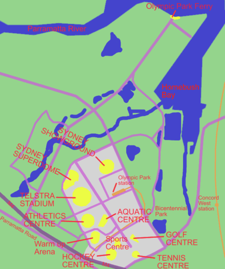 Map of Sydney Olympic Park, showing the sporting facilities there Sydney olympic park map.PNG
