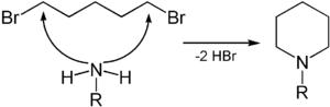 Herstellung von N-alkylierten Piperidinen aus 1,5-Dibrompentan