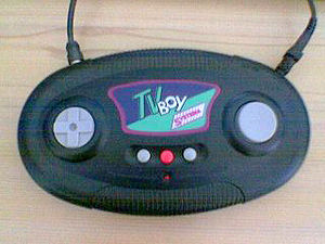 Dedicated console - A handheld TV game with power and TV leads attached.