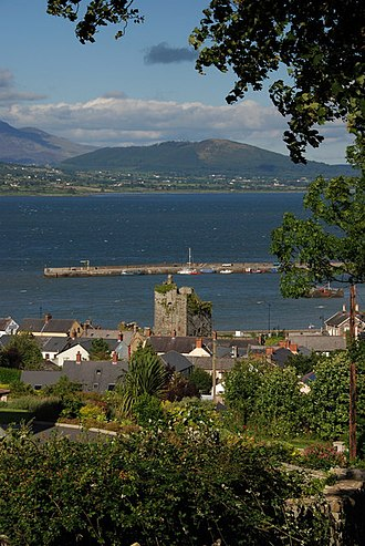 Viscount Taaffe - Taaffe's Castle and Carlingford Harbour Carlingford Lough and Mourne Mountains in background