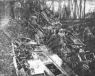 Tacoma Streetcar Disaster - Aftermath of the Tacoma Streetcar Disaster. Photo is from the Tacoma Daily Ledger, published July 5, 1900.