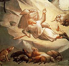 Fresco painted in grey, yellow and black. A blaze of yellow light comes from the upper right from an angel not visible in this detail. A startled shepherd lying on the ground is twisting around to see the angel, the light from the angel touches the mountainside, figures and sheep.