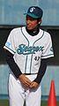 Takayuki Makka, pitcher of the Yokohama BayStars, at Yokosuka Stadium.JPG
