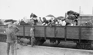 Belfast, Mpumalanga - The Second Boer War, 1899-1902. Train, full of probably Boer refugees, at a British Army camp at Belfast.