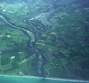 Temuka - Temuka and the Opihi River. The photo was taken from an Air New Zealand ATR-72 flight from Christchurch to Invercargill