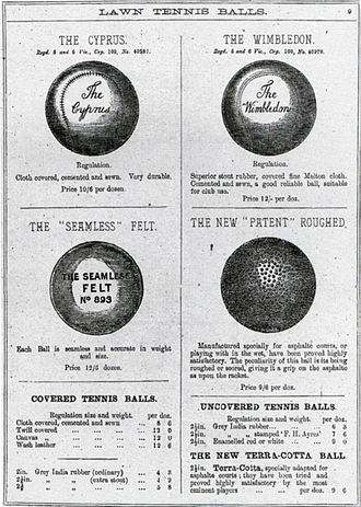 Tennis ball - Tennis balls, advertisement, 19th century