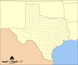 A map of Texas showing the location of Big Spring State Park
