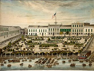 China–United States relations - The American Garden at the Thirteen Factories in Canton, 1844–45