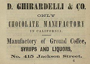 Ghirardelli Chocolate Company - 1864 advertisement from The California Miner's Almanac