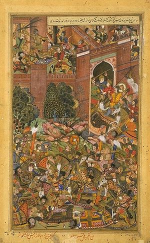 Mandu, Madhya Pradesh - Mughal forces led by Adham Khan, enter the fort of Baz Bahadur of Malwa, 1561, Akbarnama ca 1590-95.
