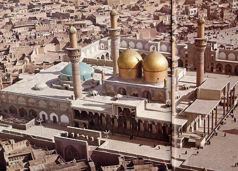An aerial view of the mosque and its environs