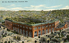 Postcard of baseball ballpark.