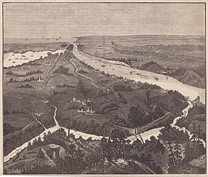 New Croton aqueduct - The engraving from Scientific American in 1887 that shows the New Croton Aqueduct in solid line comparing to the Old Croton Aqueduct in dotted line, looking south from Putnam County with Manhattan on the far side.