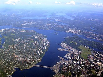 Lilla Värtan - Aerial view of Lilla Värtan looking south. Lidingö in the left, Stockholm on the right, the bridge Lidingöbron in the foreground and Nacka in the background.