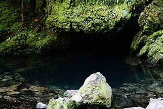 Takaka Hill - The mouth of The Resurgence, the spring that drains much of the hill through limestone caves and sinkholes.