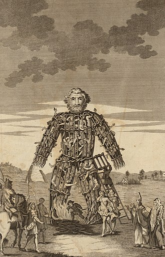 Celtic polytheism - An 18th century illustration of a wicker man, a form of human sacrifice that Caesar alleged the Druids, or Celtic priesthood, performed, though no archaeological evidence has been uncovered to support this.