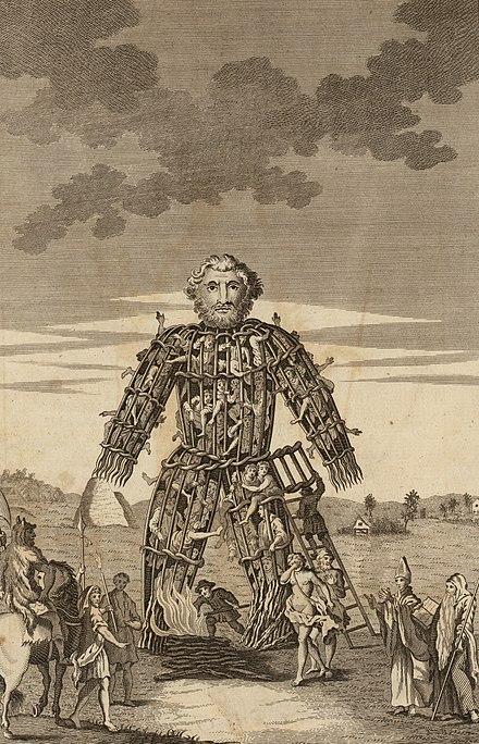 "An 18th century illustration of a wicker man, the form of execution that Caesar claimed the druids used for human sacrifice. From the ""Duncan Caesar"", Tonson, Draper, and Dodsley edition of the Commentaries of Caesar translated by William Duncan published in 1753. The Wicker Man of the Druids.jpg"