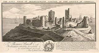 The east view of Aberystwith Castle, in the county of Cardigan
