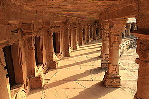 Chausath Yogini Temple, Morena - Inner corridor with subsidiary shrines deified now Shiva Lingams