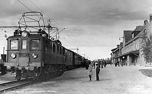 SJ D - D loco at the  railway station in Kiruna, Lappland, between 1940-1959
