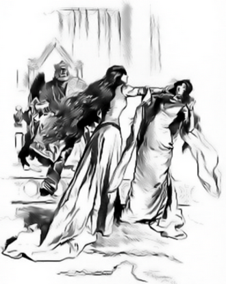 "Gwenhwyfach - ""This slap was recorded in the Bardic Triads as one of the Three Fatal Slaps"", F. H. Townsend's illustration from The Misfortunes of Elphin (1897)"