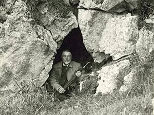 Thomas Johnson Westropp - Westropp, posing inside a cave or souterrain